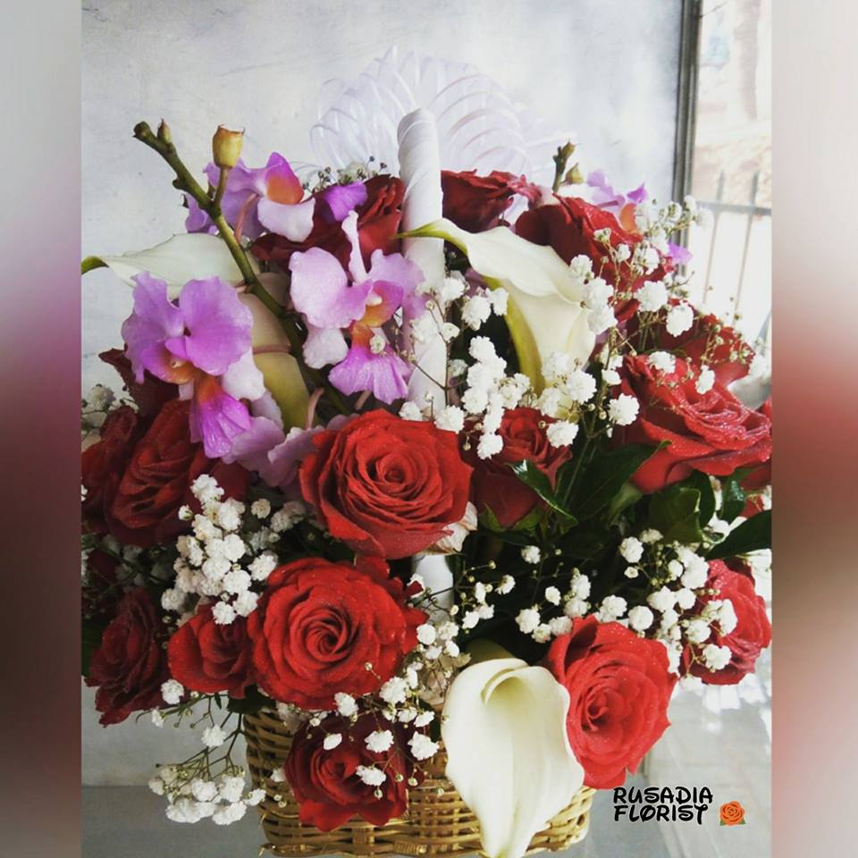 A special basket of gift flowers by Rusadia Florists and Decorations