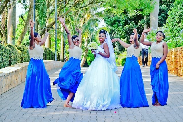 A bride and her maids at Speke Resort Munyonyo, dressed by TEM Fashion WEAR