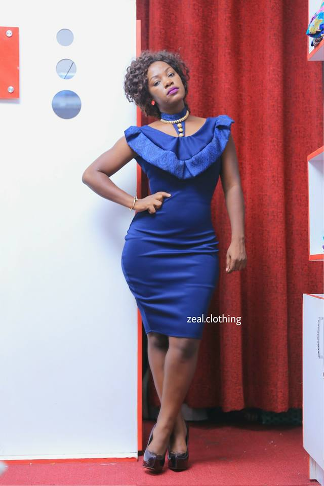 Perfectly fitting dark blue dress custom-made by Zeal Clothing