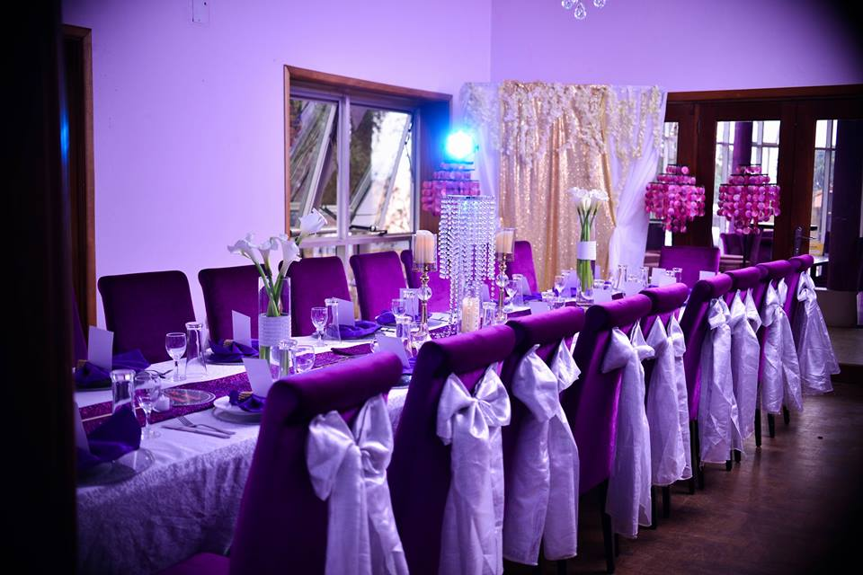 Purple Themes Dinner setup by Essie Events