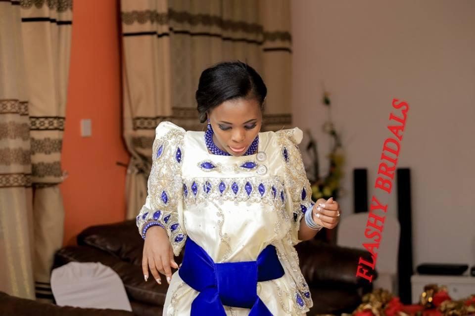 Barbara's Kwanjula Bridal Wear: Blue White Gomesi