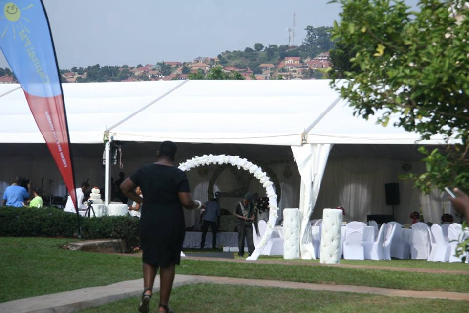 Mega tents at Grace Bar & Restaurant Lubowa for Steven & Koina's wedding