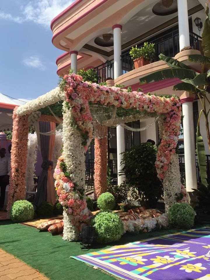 Sharifah's peach and gray themed gazebo by Spice Decorators