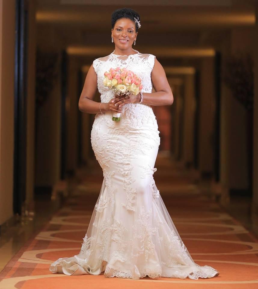 Beautiful Agness in her custom made #fatumahasha wedding gown.