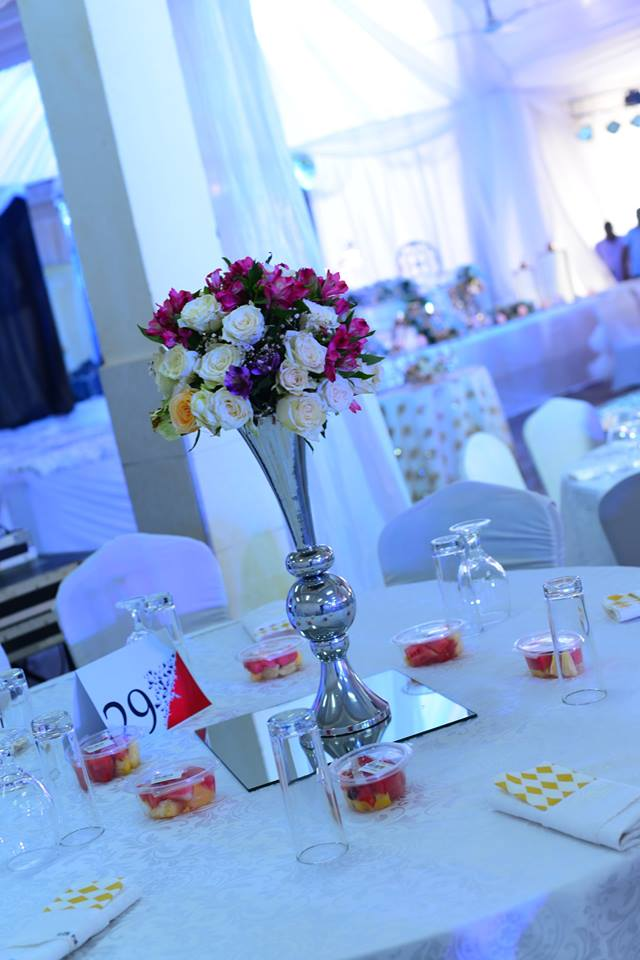 Colourful centerpiece, decor by Monique Events Uganda