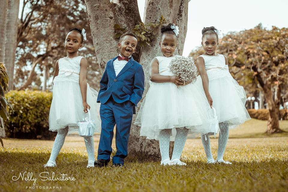 A Ugandan pageboy and flower girls at a wedding photo shoot by Nelly Salvatore Photography