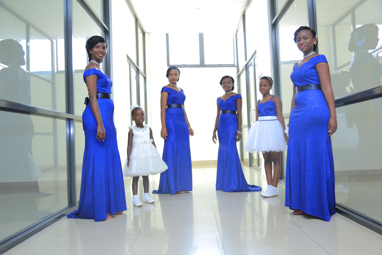 Brenda's maids & flower girls at Kampala Boulevard