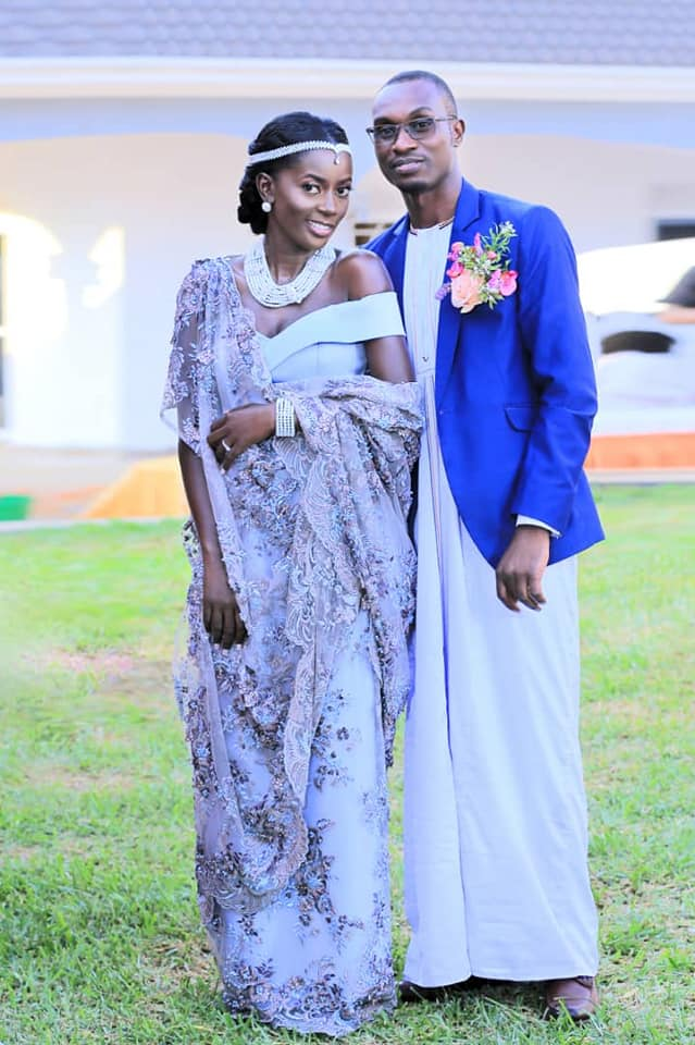 Adrine and her groom at their traditional wedding, Peponi Clothing