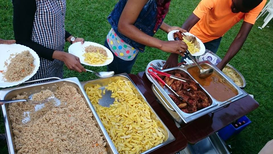 A variety of event foods prepared by Tasty Planet Catering Services