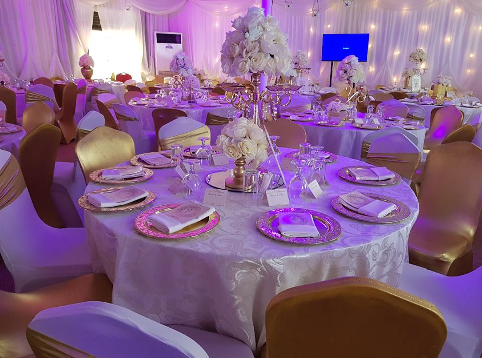 Beautiful gold and peach decor at Rivonia Suites