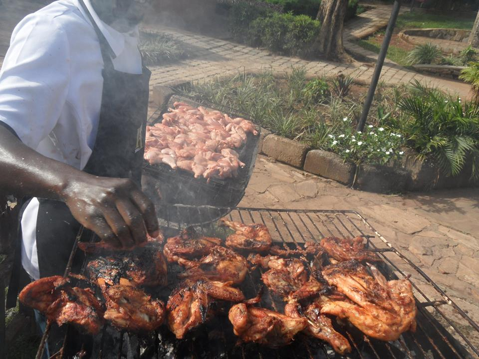 Roasted chicken at Hotel International in Muyenga