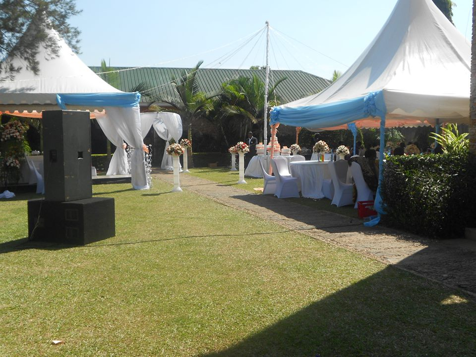 The green gardens at Green valley hotel being set up for a wedding