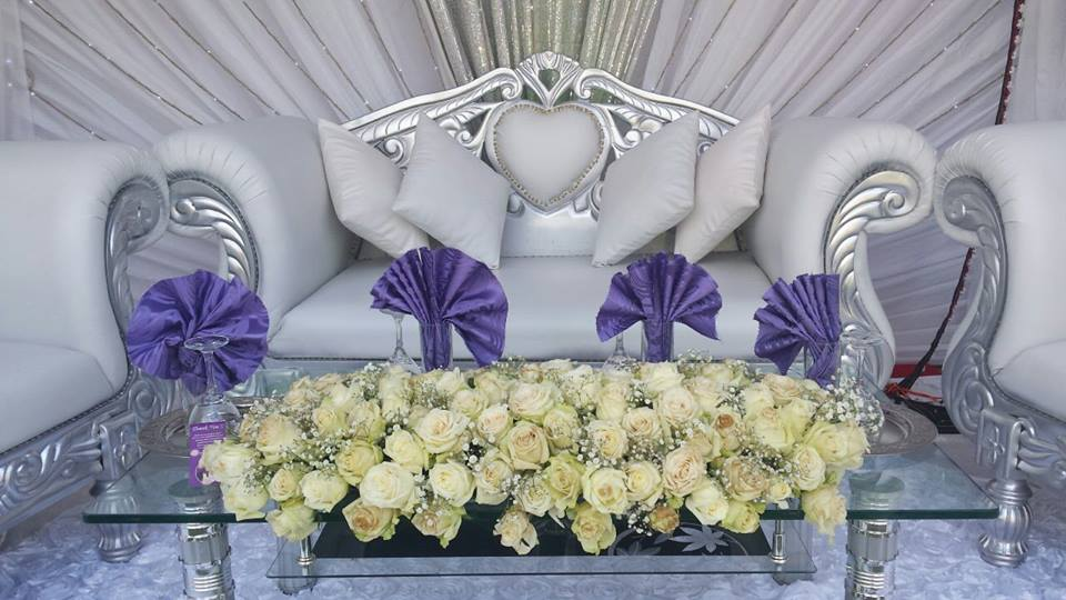 Wedding high table decor setup by Event Styles
