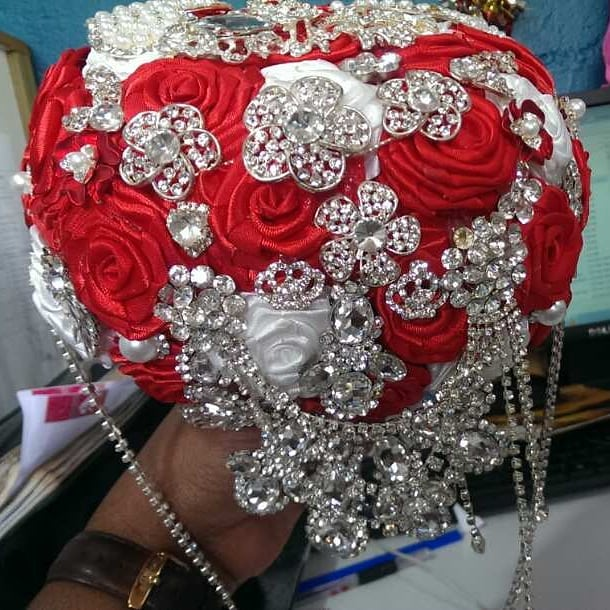 Red and white inspired bridal bouquet by Bridal Bouquets By Janet