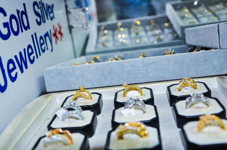 Gold and silver rings at Radha Jewellery Ltd Uganda