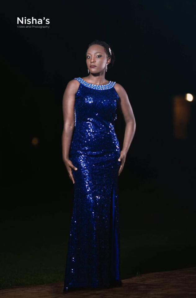 A beautiful blue sequined dress from Nisha's Bridal