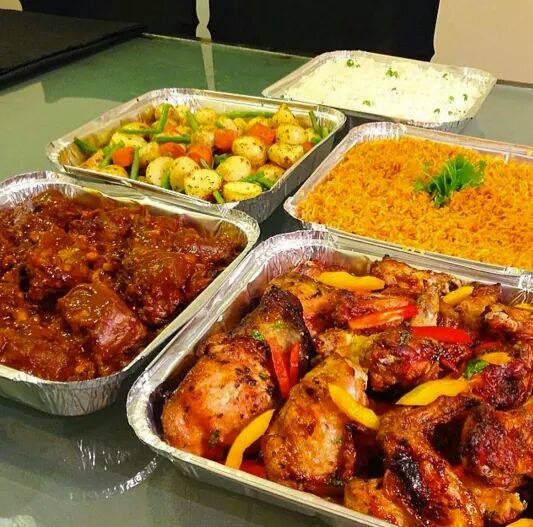 A variety of mouth watering foods prepared by Sunrise Catering Services Limited