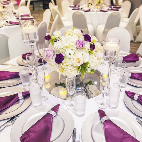 White & Purple Themed Decor by My Event Planner