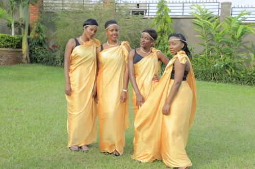 Bridesmaids clad in gold and black inspired Mishanana from My Kuhingira Collection