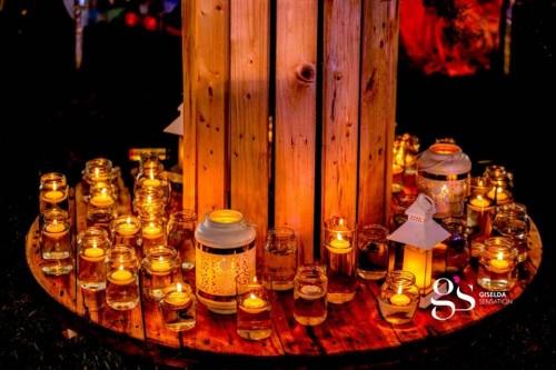 Led candles glowing at Festo and Bridget wedding, Decor by Giselda Sensation