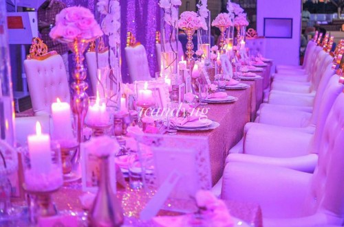 Cream, gold and pink themed birthday dinner party
