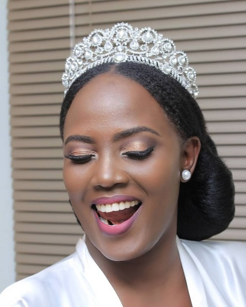 Black beauty Mimi on her wedding day, makeup by Serene Beauty