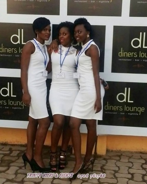 Part of the Trinity Usher's team at an event at Dinners Lounge Bukoto, Ntinda