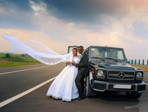 A bride and groom at a wedding photoshoot powered by Oscar Ntege Photography