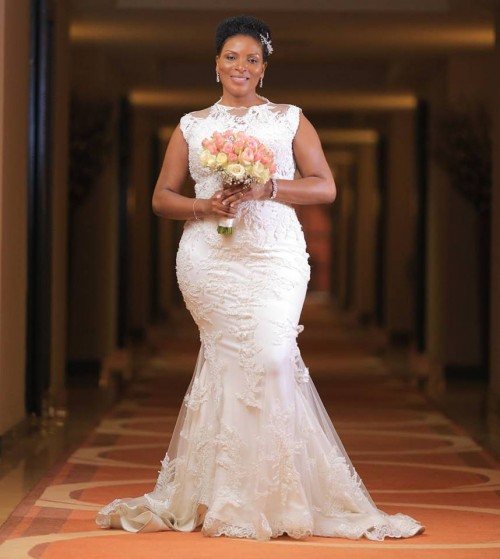 Beautiful Agness in her custom made #fatumahasha wedding gown.