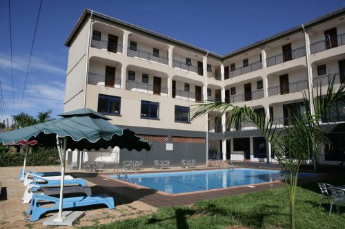 Back view and swimming pool of Ivys Hotel Kampala