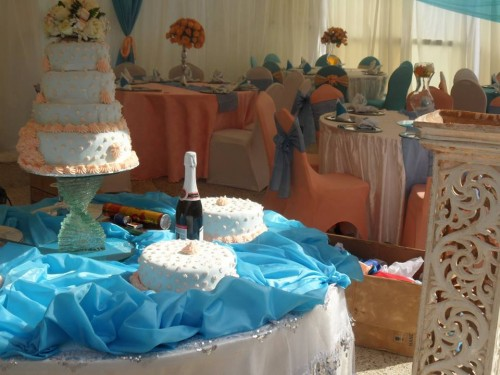 A wedding cake at Hotel International in Muyenga
