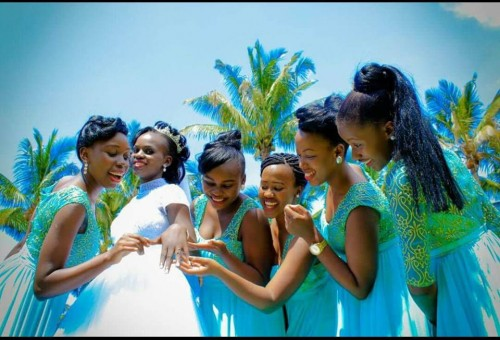 A bride and her entourage dressed by Bridal Lounge Kampala