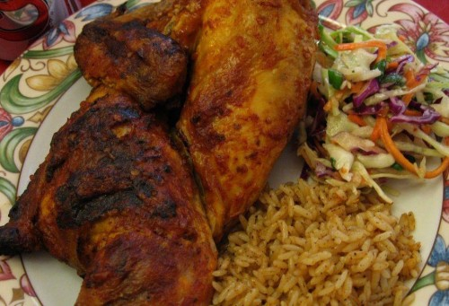 Roasted chicken, rice and saladdes with FZS Restaurant