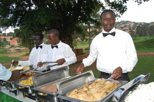 Chefs from Events Catering Limited serving at an event