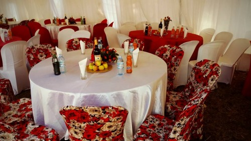Red and White Decor Themed Decor By Crystal Events in Kumi Uganda