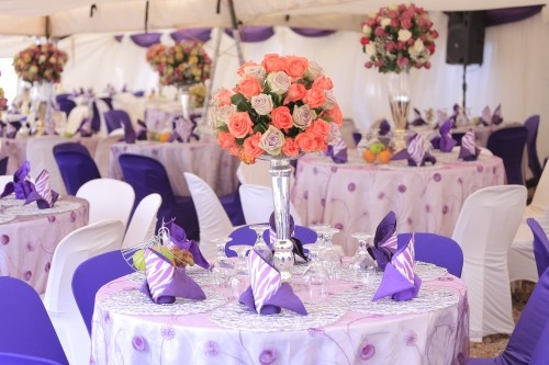 White and purple themed kwanjula decorations by Rossy Roots Events