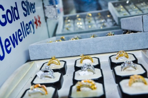 Gold and silver rings at Radha Jewellery Ltd Uganda