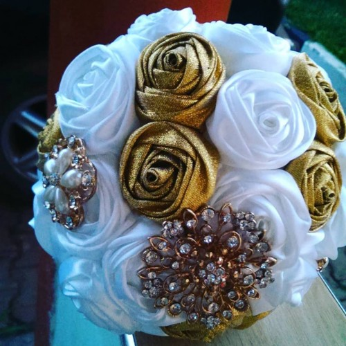 White and gold bridal bouquet by Bridal Bouquets By Janet
