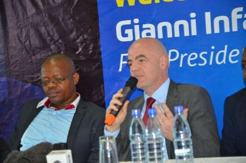 FIFA President Gian Infantino & FUFA Boss Moses Magogo at Ivys Hotel Kampala