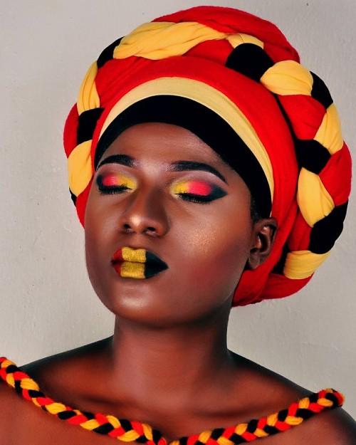 Uganda flag inspired makeup by Thenameis.Usher Makeup Artistry
