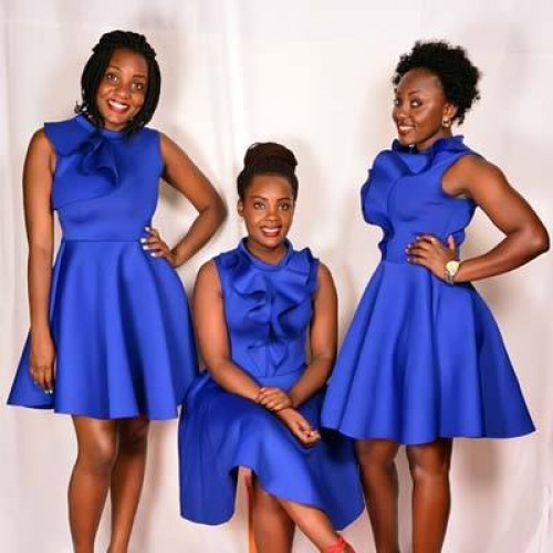 Beautiful ladies of Sleek Ushering Agency clad in blue dresses