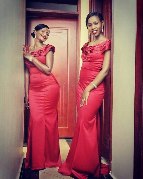 Pesh Koby's bridesmaids slaying in winered offshoulder gowns designed by Peponi Clothings