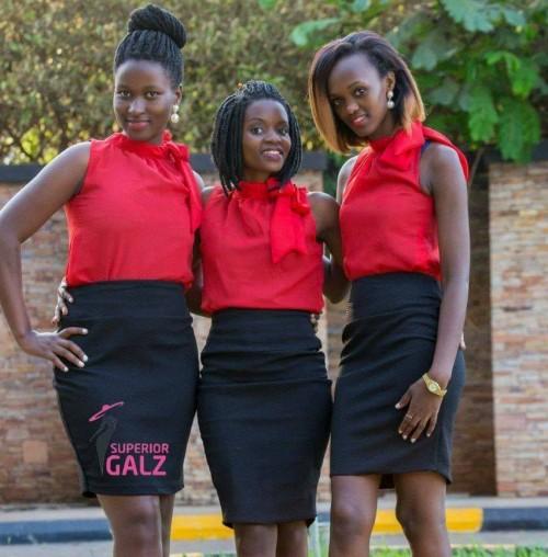 Three members of the Superior Galz Ushers team