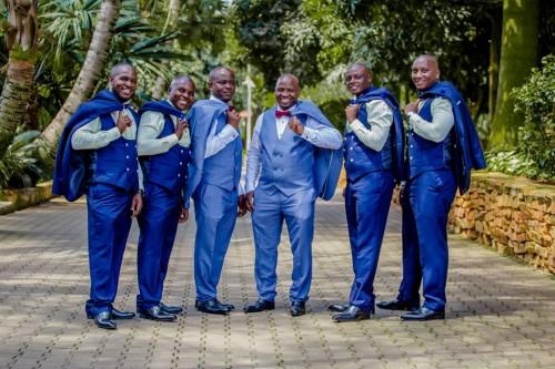 Boaz and his groomsmen during a wedding photo shoot at Speke Resort Munyonyo