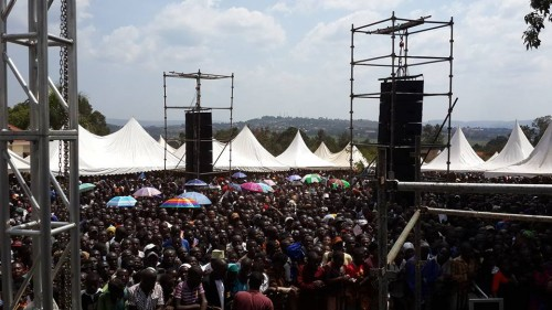 A large crowd entertained by Extreme Music and Events