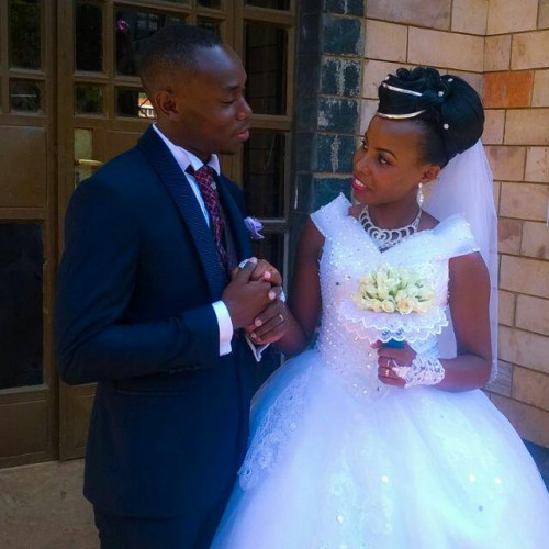 A bride and groom on their wedding day