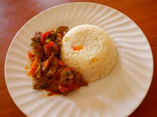 Rice & beef prepared by Classic Catering Uganda