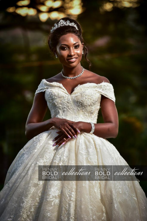 The Amazing Prossy on her wedding day with Solomon, dressed by Penny Bold