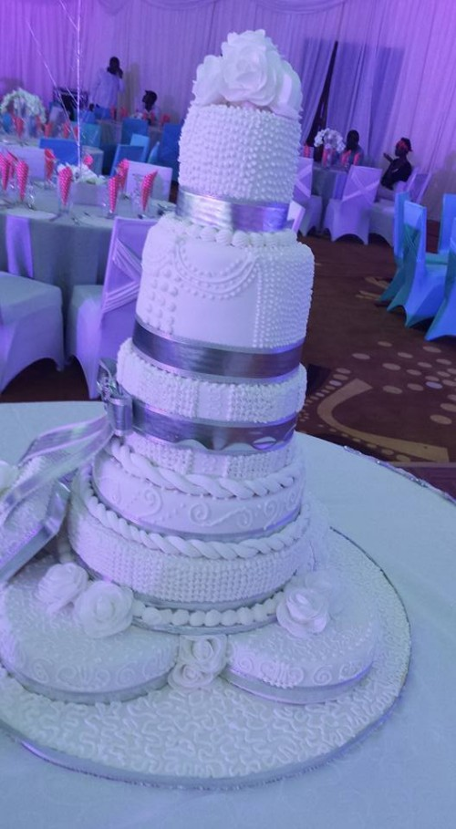 A wedding cake by New Day Bakery & Catering Services