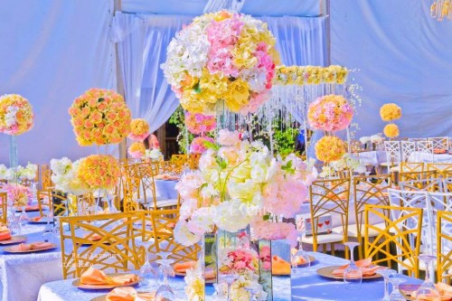 Frank and Emma's wedding decor at Hot spring villas, decor by Essie Events